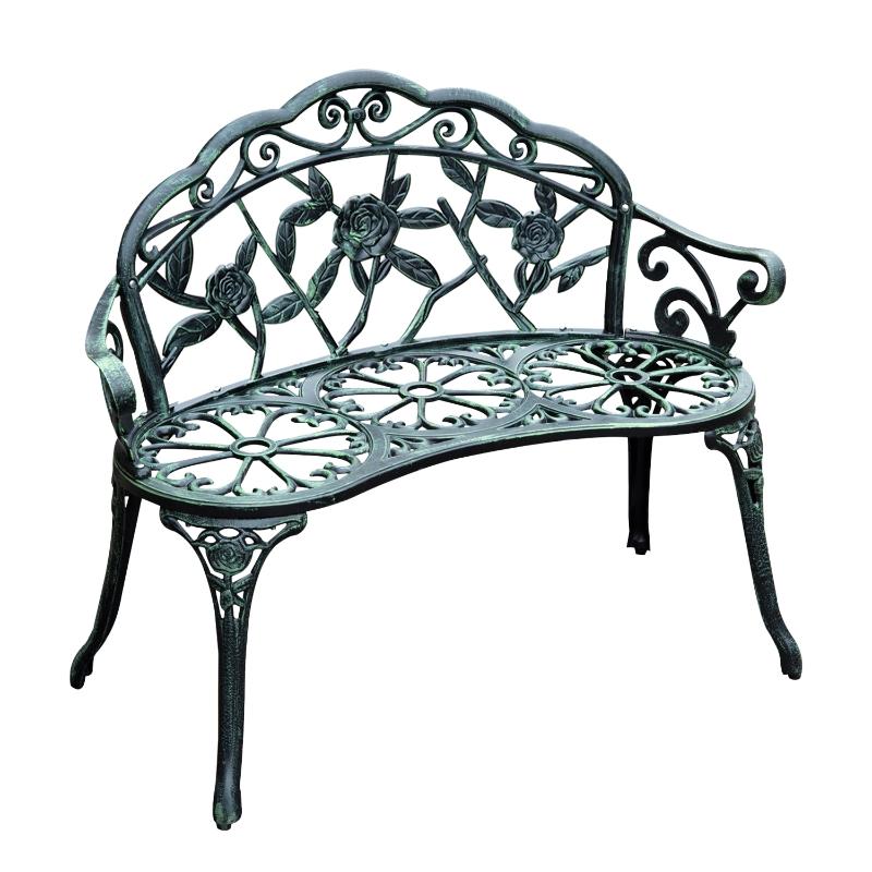 Outsunny Cast Aluminum Garden Bench-Antique Green