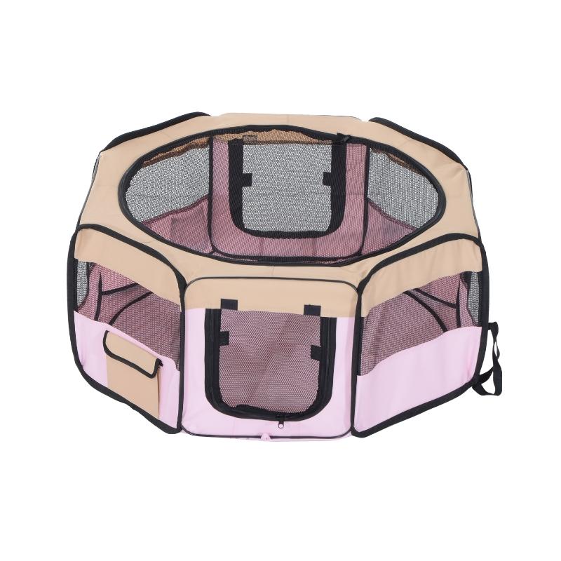 Pawhut Fabric Folding Pet Play Pen  8 Panels Octagon Shape Portable 37x37cm-Pink