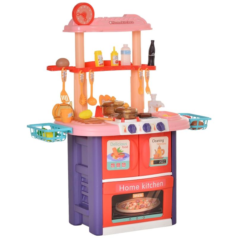 HOMCOM Kinderküche mit Zubehör, 51-Teilige Spielküche Spielzeugküche Kunststoff, Rosa+Violett, 71,5x35x85,5 cm