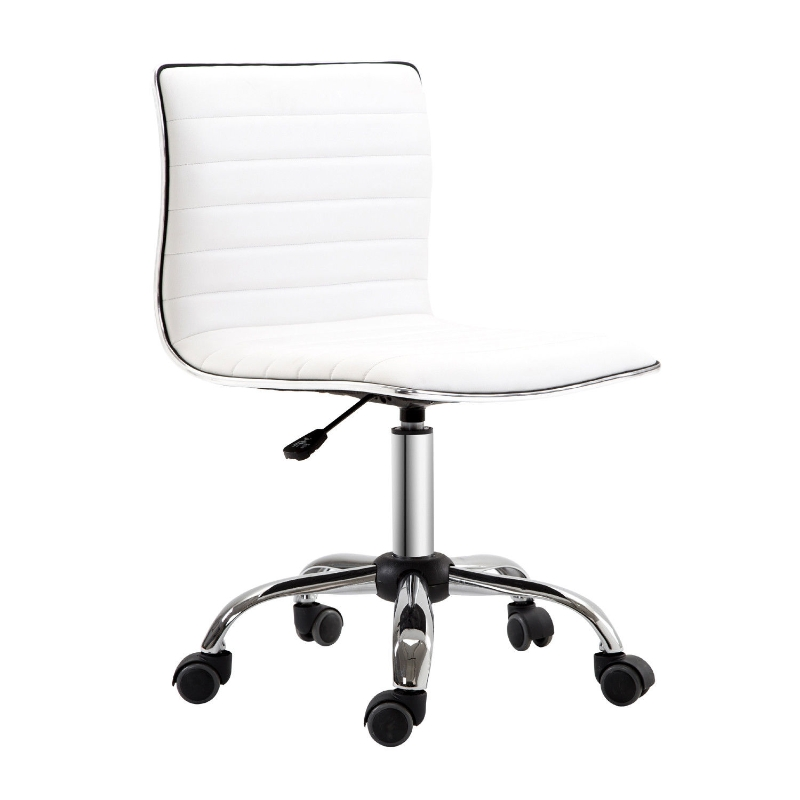 HOMCOM Armless Mid-Back Adjustable Office Chair-White