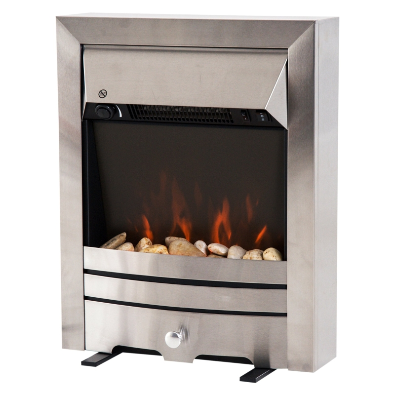 HOMCOM 2KW Electric Fireplace Pebble Burning Effect Heater Fire Flame Indoor Stove LED Lighting - Stainless Steel