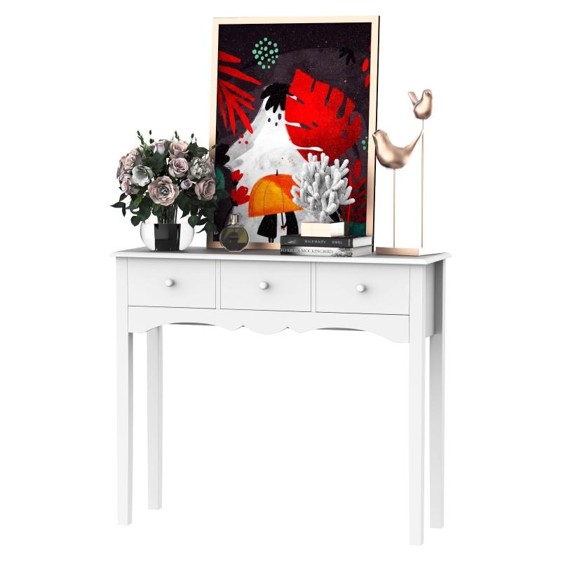 HOMCOM 100Wx32Dx85H cm 3-Drawer Dressing Table-White