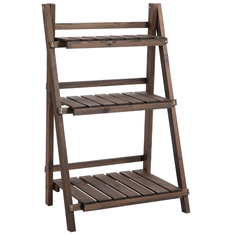 Outsunny 3-Tier Wooden Plant Shelf Foldable Flower Pots Holder Stand Indoor Outdoor