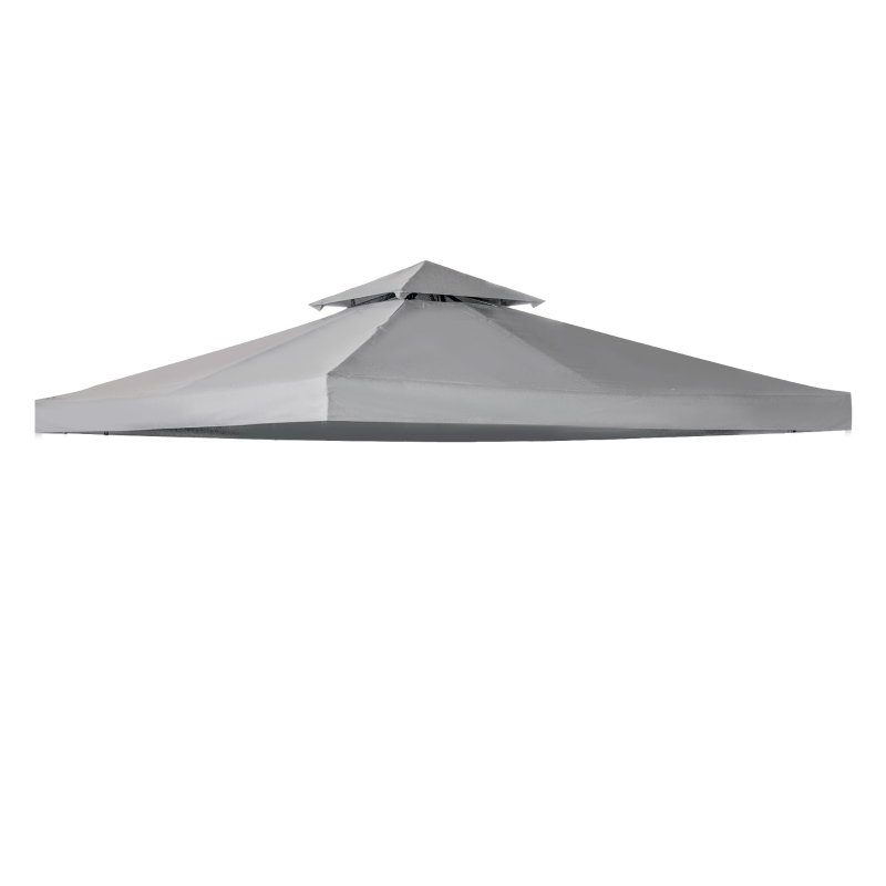 Outsunny 3(m) Gazebo Top Cover Double Tier Canopy Replacement Pavilion Roof Light Grey