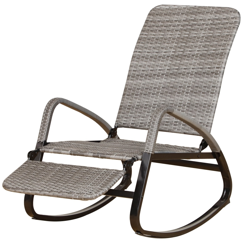 Outsunny PE Rattan Foldable Recliner Rocking Chair w/ Footrest Grey