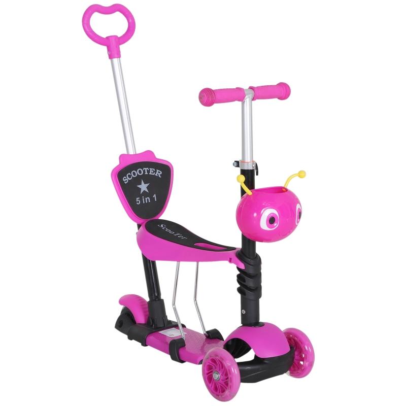 HOMCOM kinderscooter, scooter, step, kickboard, in hoogte verstelbaar aluminium roze