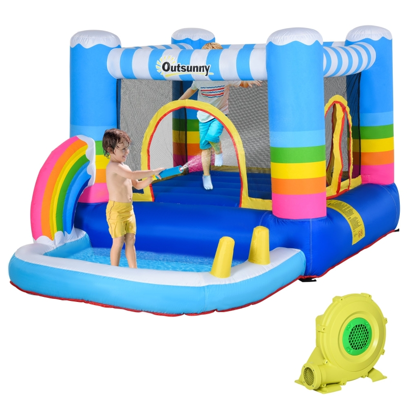 Outsunny Kids Bouncy Castle House Inflatable Trampoline Water Pool 2 in 1 with Blower for Kids Age 3-12 Rainbow Design 2.9 x 2 x 1.55m