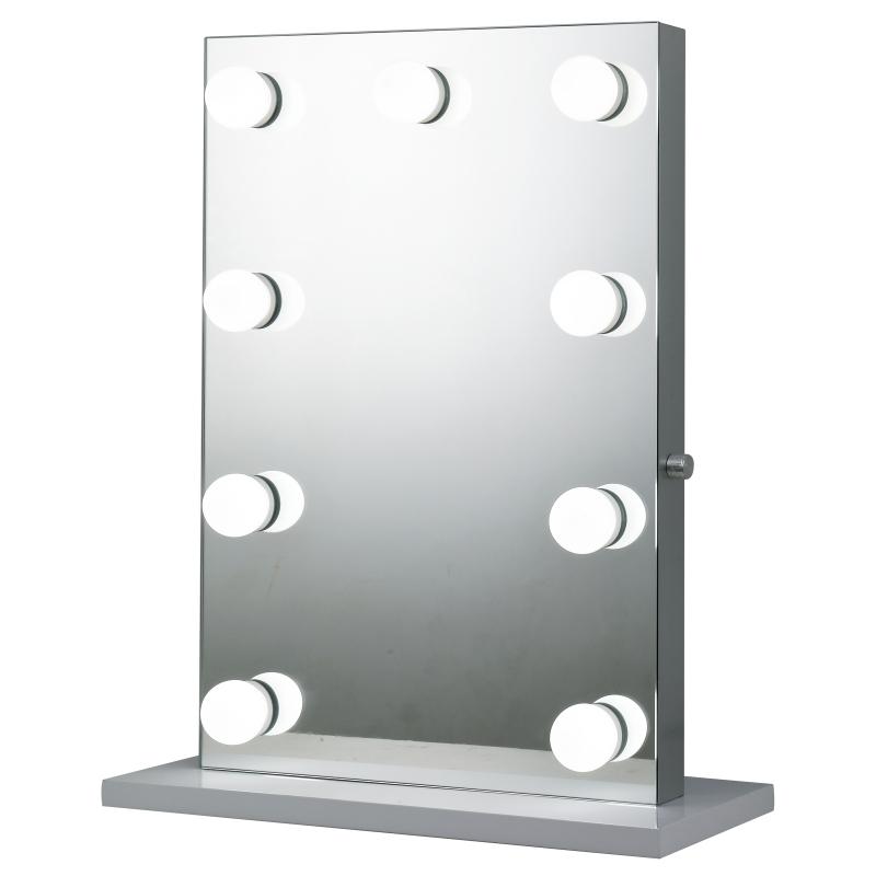 HOMCOM make-up spiegel cosmeticaspiegel met 9 A ++ LED-lampjes, metalen sokkel, aluminium