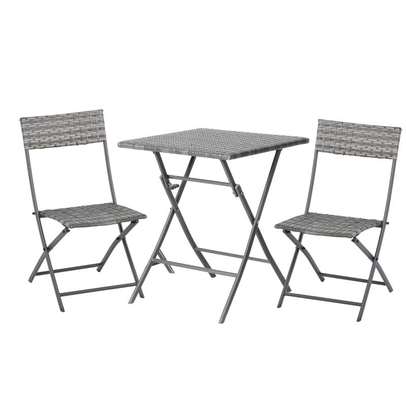 Outsunny 3 PCS Chair Bistro Set Garden Patio Table & Chair Black Rattan Furniture Grey