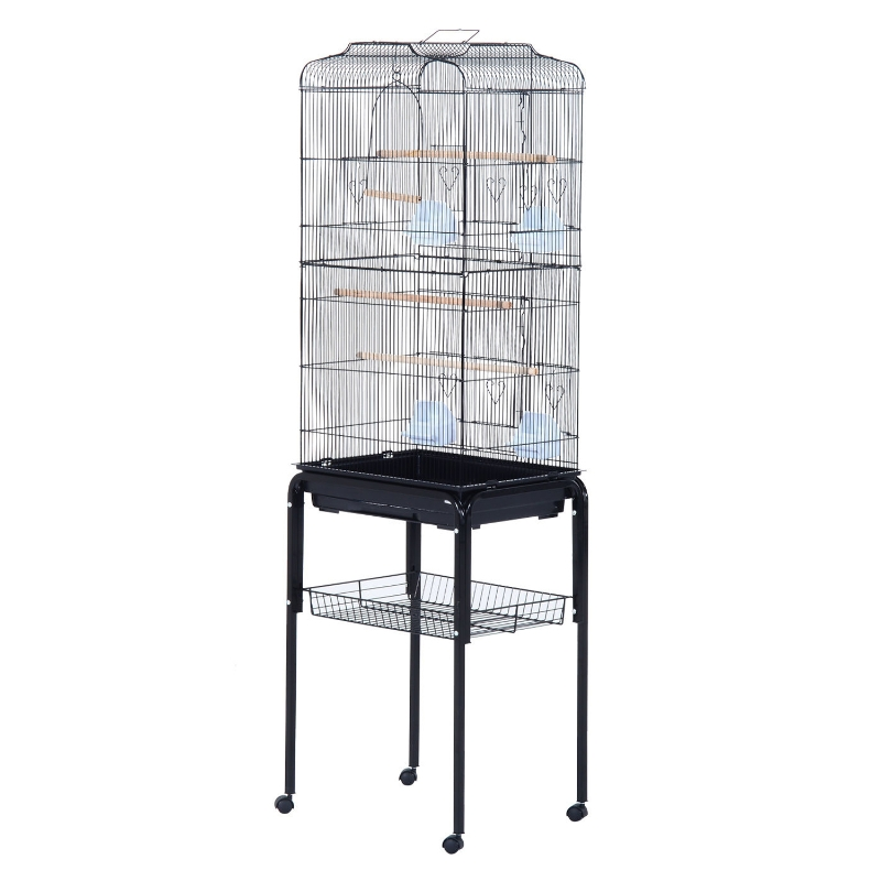 PawHut 153cm Metal Bird Cage W/Removable Wheels Stand-Black