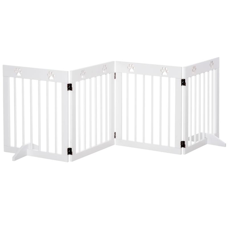 PawHut Freestanding Pet Gate 4 Panel Folding Wooden Dog Barrier  w/ Support Feet