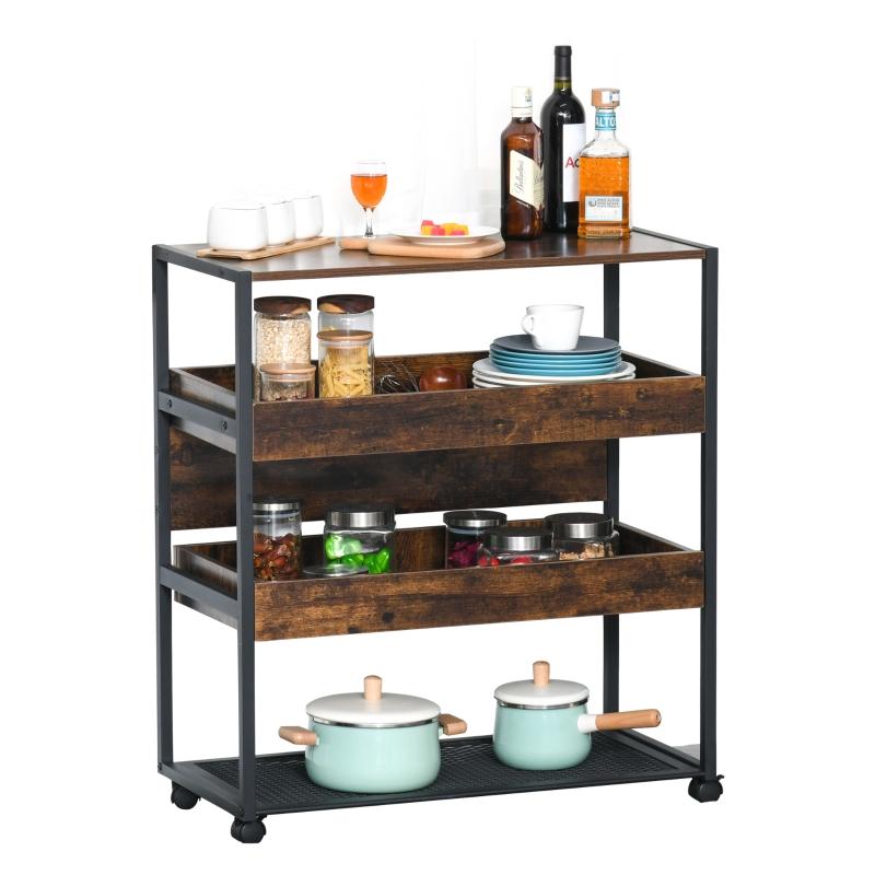 HOMCOM 4-Tier Kitchen Cart Storage Trolley w/ Wheels Shelves Kitchen & Dining Room
