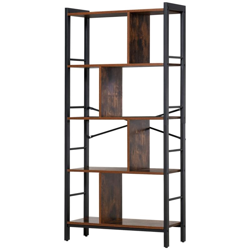 HOMCOM Industrial Storage Shelf Bookcase Shelf for Living Room Home Office - Black/Woodgrain