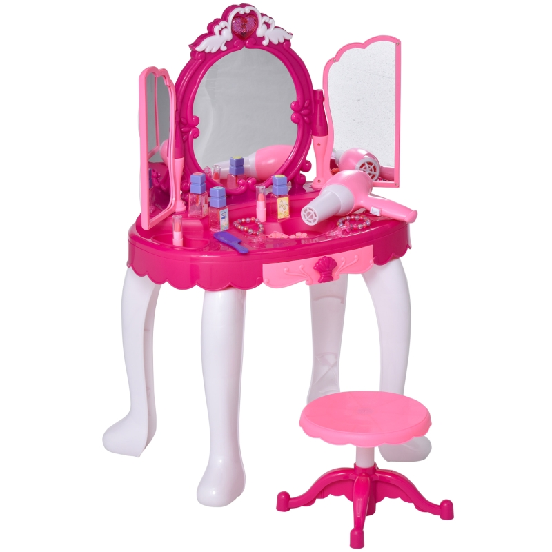 HOMCOM kinderkaptafel kaptafel met muziek krukje meisjes cosmetica