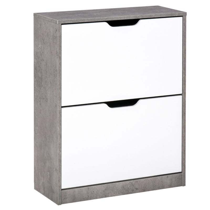 HOMCOM Tipping Shoe Cabinet Hall Organizer Wood Rack w/ Drawer Adjustable Shelf 8 Pairs