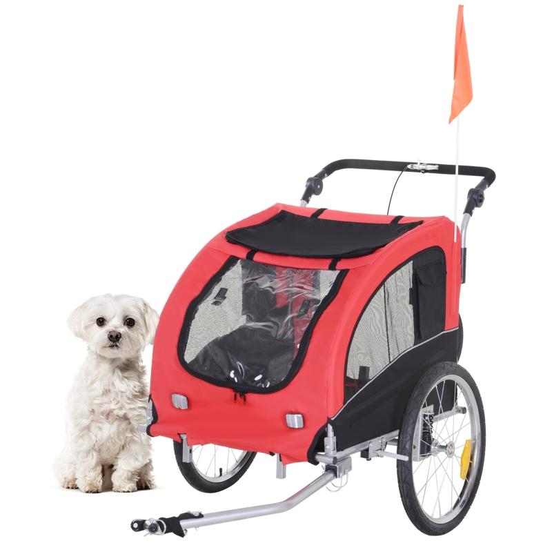 2 in 1 hondenaanhanger fietskar jogger vlag regenhoes voor honden 4 kleuren