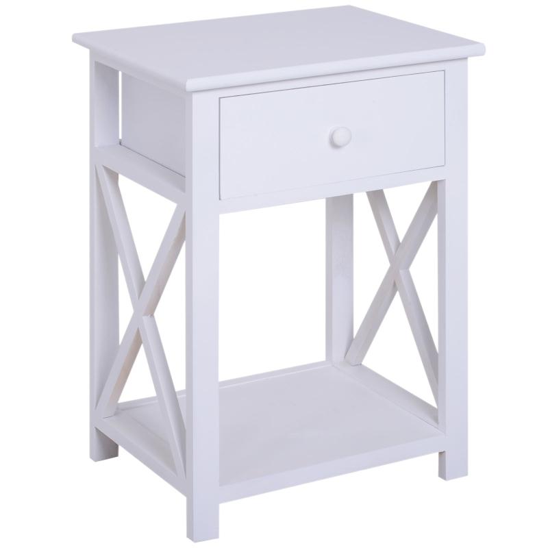 HOMCOM 40Lx30Wx55H cm End Table-White