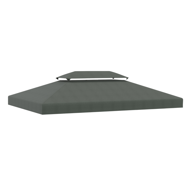 Outsunny 3x4m Gazebo Replacement Roof Canopy 2 Tier Top UV Cover Garden Patio Deep Grey