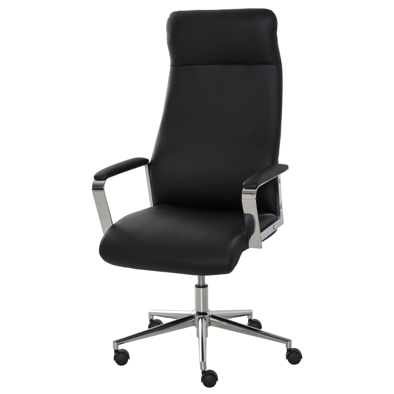 Vinsetto Office Chair Faux Leather High-Back Swivel Computer Desk Chair w/ Wheels, Black