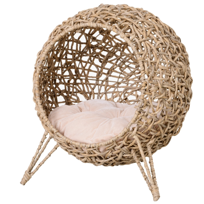 PawHut Cats Elevated Plastic Wicker Dome Bed