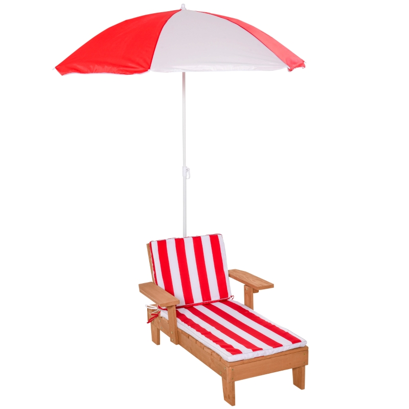 Outsunny Wooden Lounge Chair for Kids Lightweight w/ Foldable Adjustable Parasol Outdoor