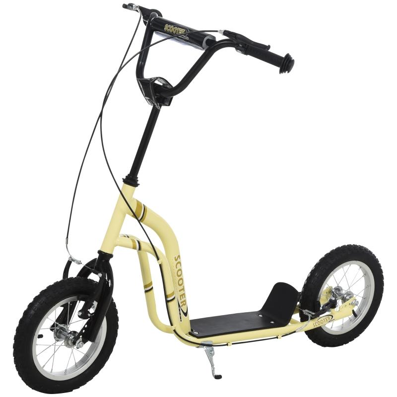 HOMCOM step kinderscooter scooter stadsscooter luchtbanden verstelbaar beige