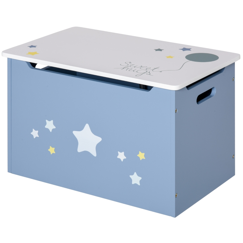 HOMCOM Kids Wooden Toy Storage Box Chest Star Decor with Gas Stay Bar Seating Bench