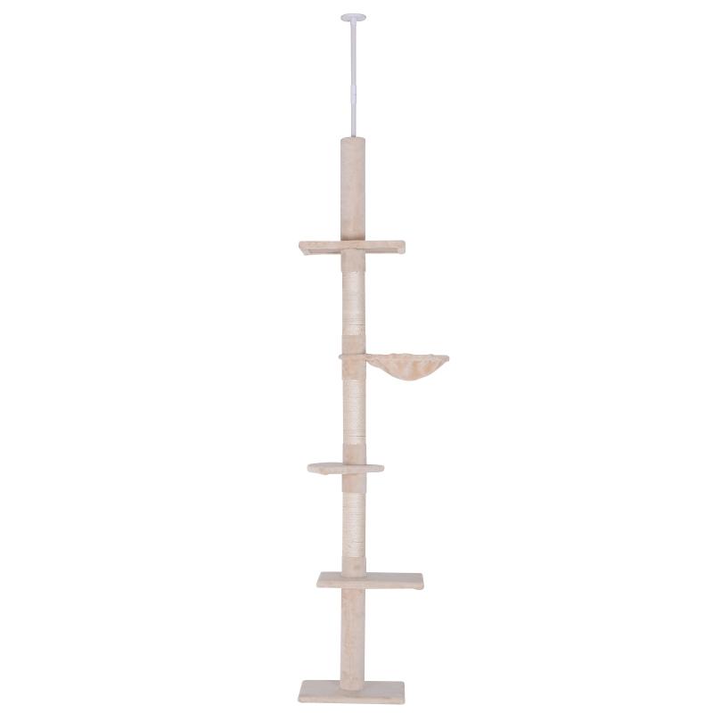 kattenboom krabboom kattenkrabboom met sisalpalen in hoogte verstelbaar beige