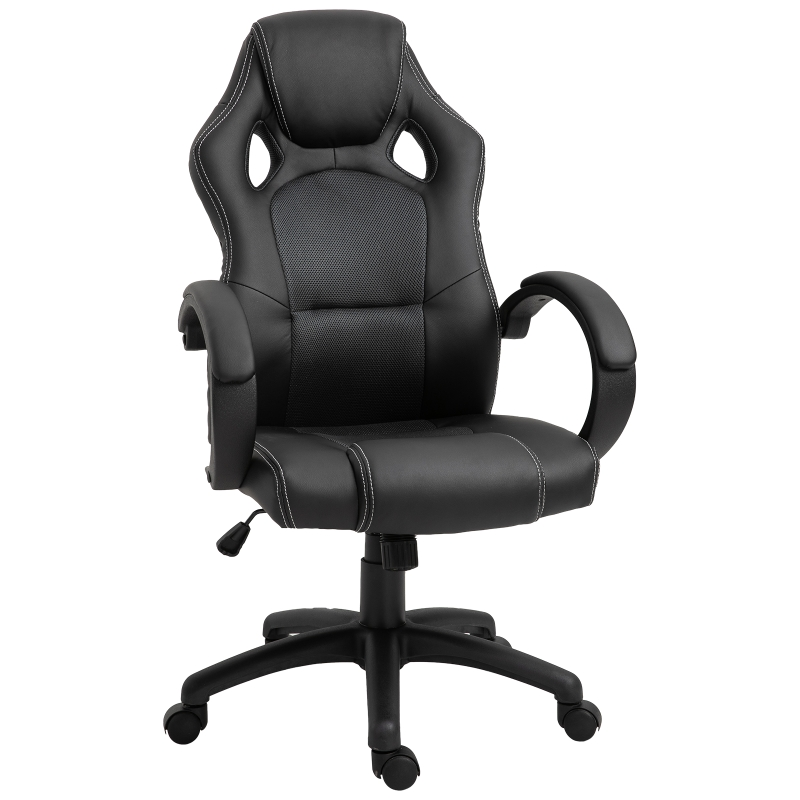 HOMCOM Racing PU Leather Office Chair-Black