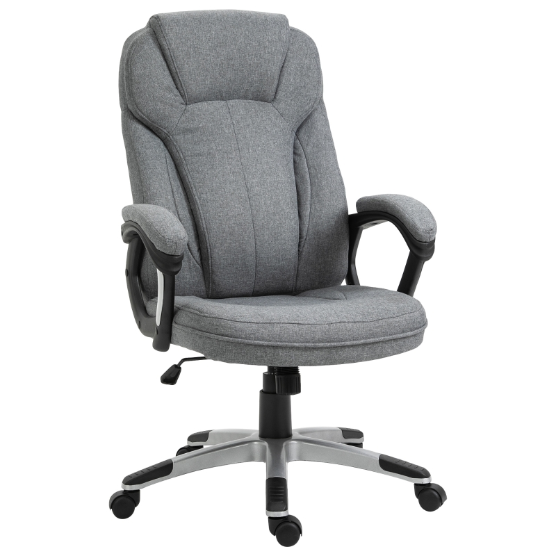 Vinsetto High Back Office Chair Rocking Ergonomic Swivel with Armrest - Grey