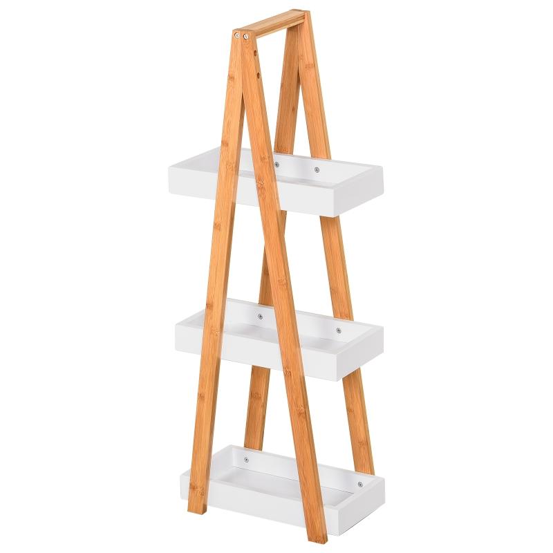 Kleankin badkamermeubel met 3 niveaus trapvormige stelling badkamer bamboe wit