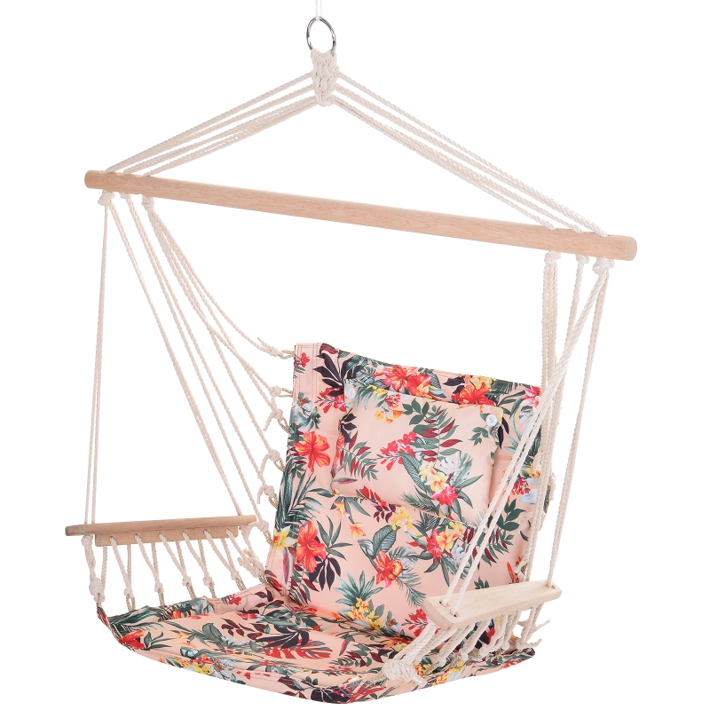 Outsunny 100x106cm Hanging Hammock Chair Safe Rope Frame Pillow Top Bar Bright Floral