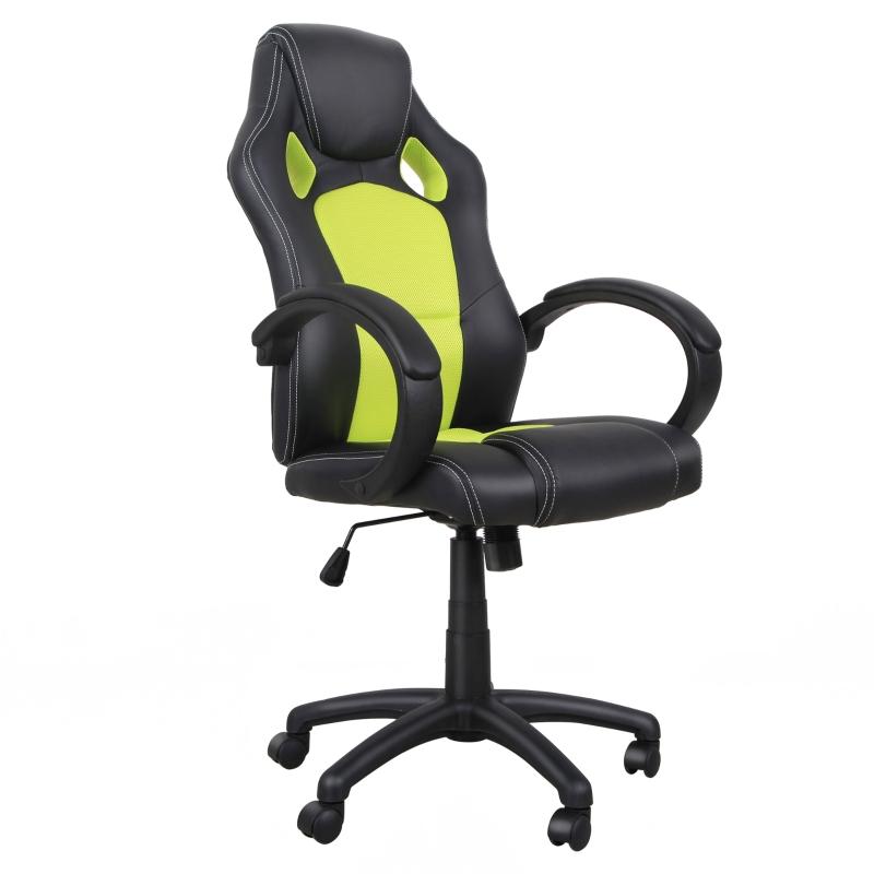 HOMCOM Racing PU Leather Office Chair-Black/Green