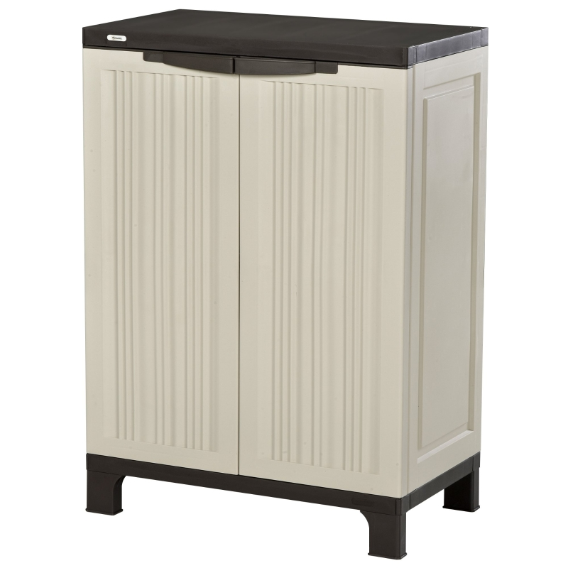 Outsunny Garden Cabinet Shed, Double-Door, 65Lx37Wx91.4H cm- Beige