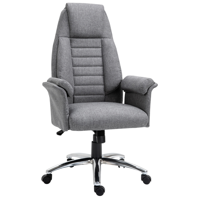 HOMCOM High back Double-Tier Armrest Office Chair Grey