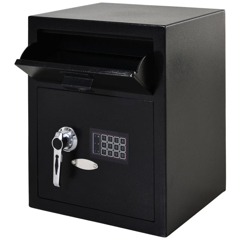 Kluis safe meubelkluis met elektronisch slot staal zwart 39 x 35 x 48 cm