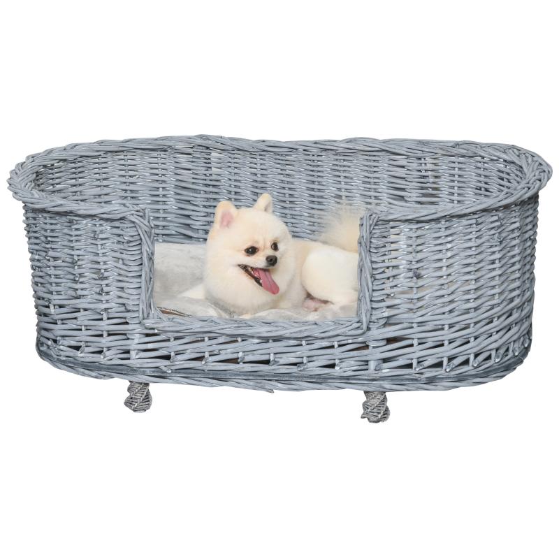 PawHut Dog Bed Basket Pet Sofa Cat Wiker Furniture Elevated Base w/ Soft Cushion