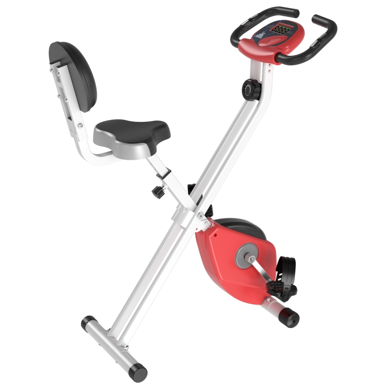 HOMCOM Steel Manual Resistance Exercise Bike w/ LCD Monitor Red