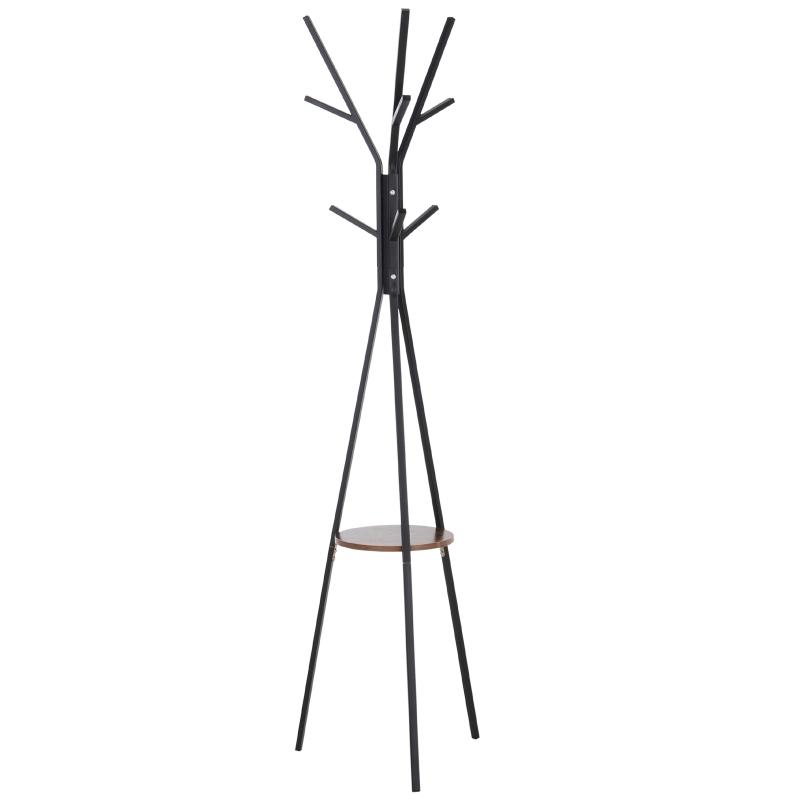 HOMCOM Free Standing Metal Coat Rack Stand 9 Hooks w/ Shelf in Brown