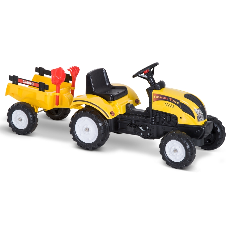 Homcom Pedal Go Kart Go Karting For Kids  Ride On Tractor Toy Tractors W/ Shovel & Rake Four Wheels Child Toy