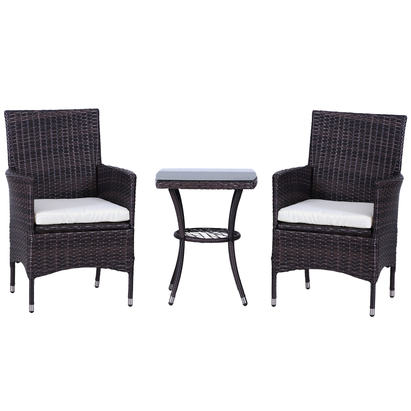 Outsunny 2 Seat Twin Rattan Bistro Chair and Table Set Brown