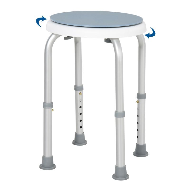 HOMCOM Aluminium 360° Swivel Shower Stool Blue/White