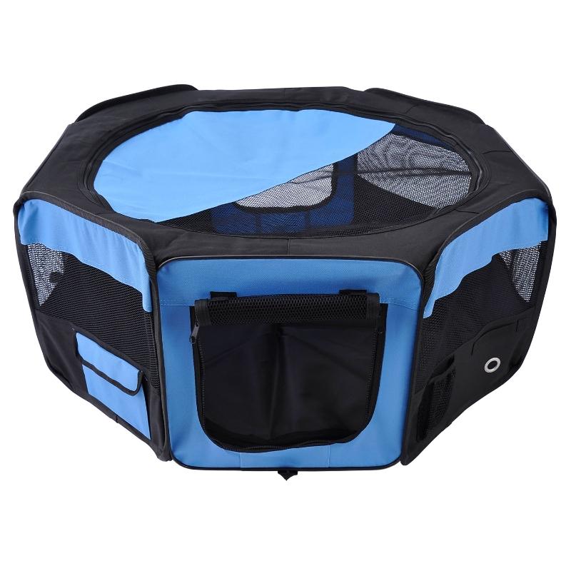 PawHut Fabric Pet Dog Playpen Portable 8 Panels 37cmx37cmx95cm-Blue/Black