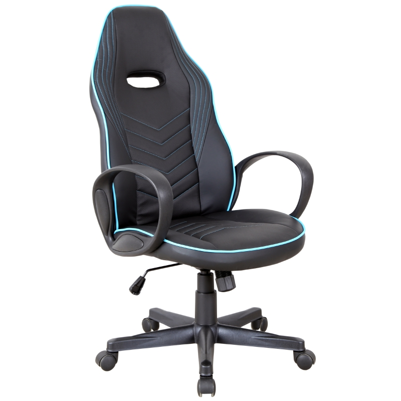 Vinsetto Executive PU Leather Office Gaming Chair Adjustable Height Padded Seat w/ Wheels Blue