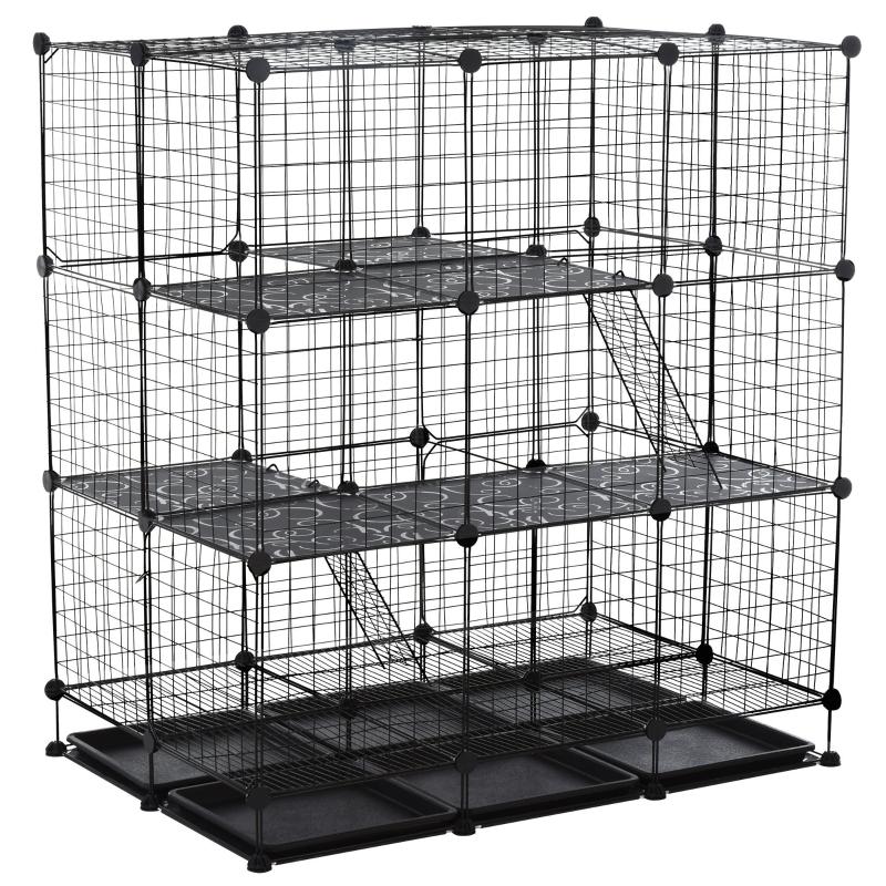 PawHut Steel 3-Tier Small Animal Playpen Cage Black