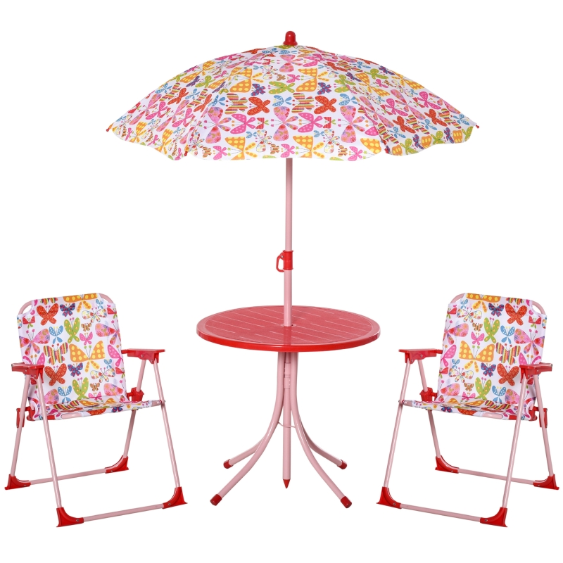 Outsunny Kids Folding Picnic Table Chair Set Color Stripes Outdoor w/ Parasol