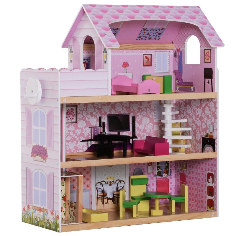 Kinderpoppenhuis poppenhuis barbiehuis poppenhuis met 3 verdiepingen met meubels