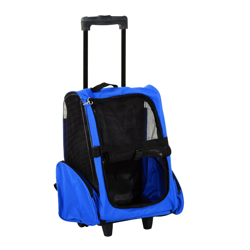 PawHut Pet Travel Stroller, Steel Wire Frame-Blue