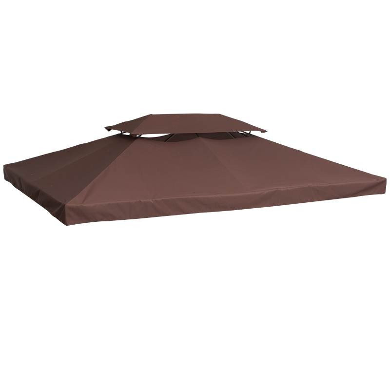 Outsunny Gazebo Replacement Top Cover Tent Roof 2 Tier, size (3m x 4m)-Brown