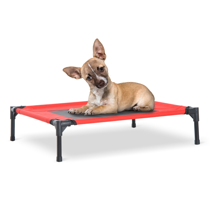 Pawhut Elevated Pet Bed, 76Lx61Wx18H cm-Black/Red